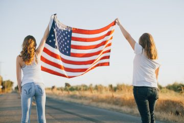Women voters american flag